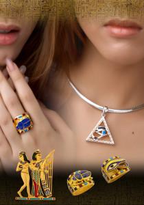 パワフルなピラミッドin ホルス神のペンダントトップ